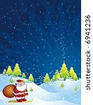 christmas card  with santa... | Shutterstock .eps vector #6941236