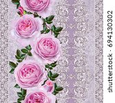 vertical floral border. pattern ... | Shutterstock . vector #694130302