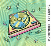 funky colorful drawn turntable   Shutterstock .eps vector #694130542