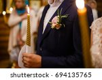 gorgeous bride and stylish... | Shutterstock . vector #694135765