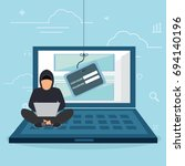 hacking phishing attack. flat... | Shutterstock .eps vector #694140196