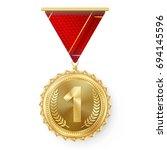 gold medal vector. golden 1st... | Shutterstock .eps vector #694145596
