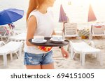 Girl Waiter Carrying Coffee On...