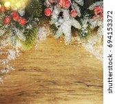 stylish rustic christmas... | Shutterstock . vector #694153372