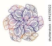 floral ethnic mandala pattern.... | Shutterstock . vector #694155022