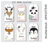 cute animal hand drawn tags set ... | Shutterstock .eps vector #694157545