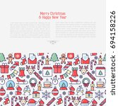 christmas celebration concept... | Shutterstock .eps vector #694158226