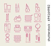 cosmetic icons. mascara ... | Shutterstock . vector #694164982