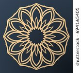 laser cutting mandala. golden... | Shutterstock .eps vector #694165405