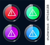 warning four color glass button ...