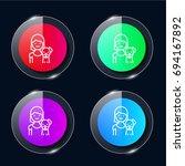 pet four color glass button ui...