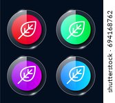 leaf four color glass button ui ...