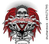 gothic coat of arms with skull... | Shutterstock .eps vector #694171795
