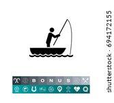 man in boat fishing icon | Shutterstock .eps vector #694172155
