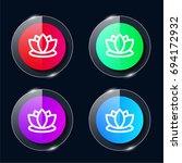 lotus four color glass button...