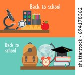 back to school flat icon set.... | Shutterstock .eps vector #694178362