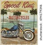 vintage california motorcycle... | Shutterstock . vector #694179346