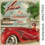 vintage summer holidays... | Shutterstock . vector #694179352