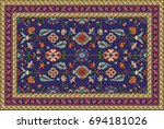 colorful oriental mosaic rug... | Shutterstock .eps vector #694181026