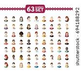 63 avatars  women  and men... | Shutterstock .eps vector #694188292