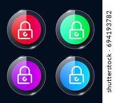 padlock four color glass button ...
