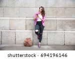 serious tourist using... | Shutterstock . vector #694196146