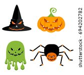 evil green ghost  a witch hat ...   Shutterstock .eps vector #694202782