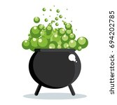 black witch cauldron with green ... | Shutterstock .eps vector #694202785