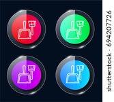dustpan four color glass button ...