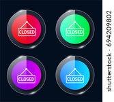 closed four color glass button...