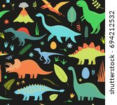dino seamless pattern on black... | Shutterstock .eps vector #694212532
