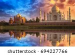 scenic taj mahal at sunset with ...   Shutterstock . vector #694227766