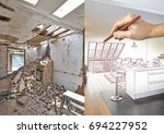 drawing and planned modern open ... | Shutterstock . vector #694227952