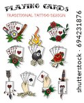 vector playing cards... | Shutterstock .eps vector #694231876