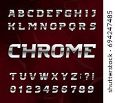 chrome alphabet font. metallic... | Shutterstock .eps vector #694247485