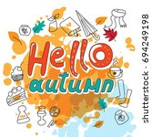 the words hello autumn hand... | Shutterstock .eps vector #694249198