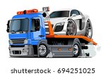 cartoon tow truck isolated on...   Shutterstock .eps vector #694251025