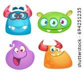 cute cartoon monsters... | Shutterstock .eps vector #694251235