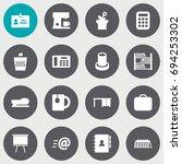 set of 16 bureau icons set... | Shutterstock .eps vector #694253302