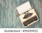 retro old portable compact... | Shutterstock . vector #694254922