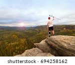 man tourist after accident use... | Shutterstock . vector #694258162