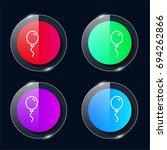balloon four color glass button ...