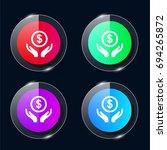 money four color glass button...