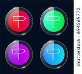 sign four color glass button ui ...