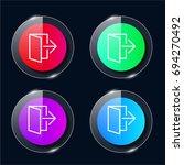 exit four color glass button ui ...