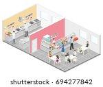 isometric flat 3d concept... | Shutterstock . vector #694277842