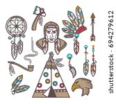 indian items set | Shutterstock .eps vector #694279612