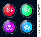 eye four color glass button ui...