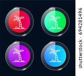 palm tree four color glass...