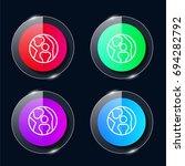 knee four color glass button ui ...